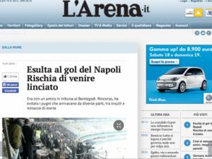 Nell'immagine l'articolo riportato da L'Arena.it sull'aggressione al tifoso naopoletano durante Verona-Napoli