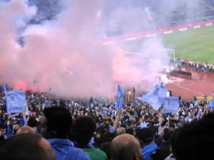 La Curva Nord dell'Olimpico di Roma occupata dai tifosi azzurri il 20 maggio 2012 per la finale di Coppa Italia vinta 2-0 contro la Juventus
